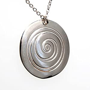 Spiral Silver Pendant Necklace on 18