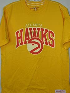 Atlanta Hawks Mitchell & Ness Gold Vintage Team Name & Logo Premium T-Shirt by Mitchell & Ness