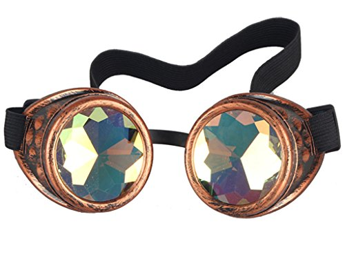 Lelinta Steampunk Rave Glasses Goggles with Rainbow Crystal Glass Lens (Glasses Steam compare prices)