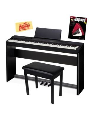 New Casio Privia PX-150 88-Key Digital Piano Bundle with Casio SP-67 Furniture-Style Stand, Casio SP-33 3-Pedal System, Gearlux Padded Piano Bench, Hal Leonard Instructional Book, and Austin Bazaar Polishing Cloth – Black