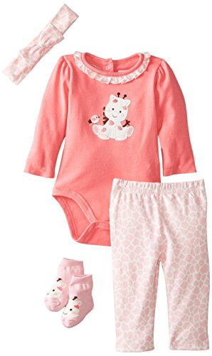 Vitamins Baby Baby-Girls Newborn Giraffe 4 Piece Creeper Pant Set, Pink, 9 Months back-965084