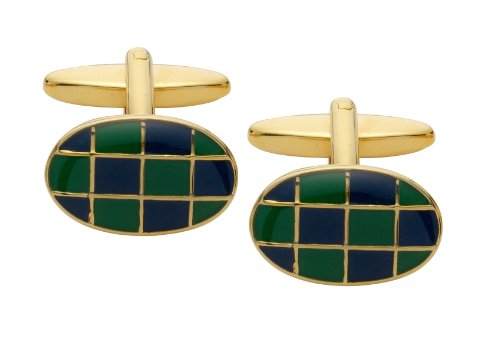 Code Red Navy and Green Gold Plated Cufflinks with Enamel Squares