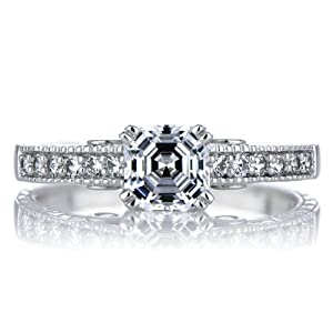 Celebrity Star Emitations Shayla's Asscher Cut CZ Engagement Ring - Red Heart CZs Size 5 by Enlightened Expressions