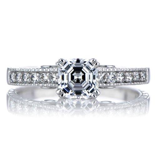 Shayla's Engagement Ring - Asscher Cut CZ & Pink Heart CZs - Silver