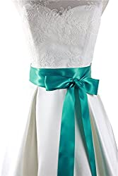 Simple classic colorful ribbon sash for daily dress formal and wedding dress (Sea blue)
