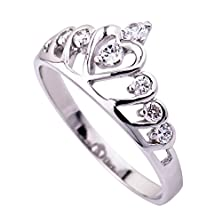 buy Origia 18K White Gold Plated 925 Sterling Silver Cubic Zirconia Heart Princess Crown Ring, Size 4.25