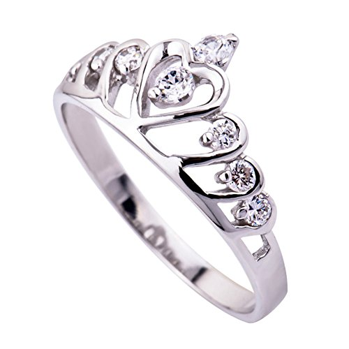 ORIGIA 18k White Gold Plated 925 Sterling Silver Cubic Zirconia Heart Princess Crown Ring, Size 4.5