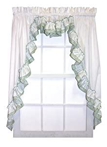 country bouquet ruffle 3 piece swag curtains set 120 inch by 63 inch 1 1 2 inch. Black Bedroom Furniture Sets. Home Design Ideas