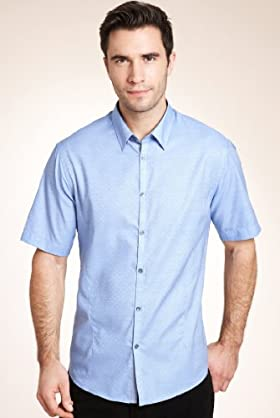 Autograph Pure Cotton Dobby Spot Slim Fit Shirt