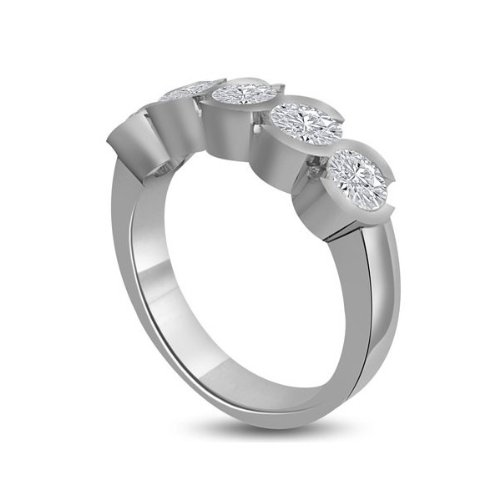 0.60 carat Diamond Half Eternity Ring for Women. H/SI1 Round Brilliant Diamonds in Rub Set Setting in 18ct White Gold