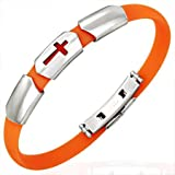 New Orange Rubber Bracelet with Stainless Steel Cross Design, Length 22cms.
