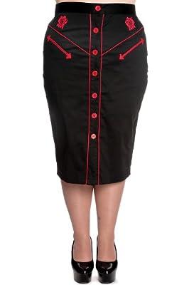 Hell Bunny Plus Western Rockabilly Lady Guns Skull and Roses Black Pencil Skirt