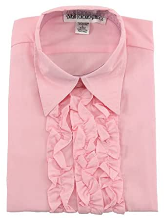 Pink ruffled tuxedo shirt large large for Red ruffled tuxedo shirt