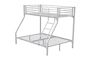 New Silver Metal Triple Children Kids Sleeper Bunk Bed Frame No Mattress Double Bed Base Single On Top With Ladder