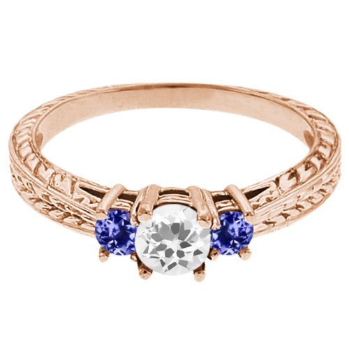 0.57 Ct Round White Topaz Blue Tanzanite 14K Rose Gold 3-Stone Ring