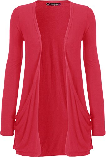 WearAll - Ladies Long Sleeve Pocket Cardigan Womens Top - Cerise - 16 / 18
