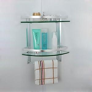 Kes a4123 aluminum bathroom 2 tier glass corner shelf with - 2 tier bathroom shelf with towel bar ...