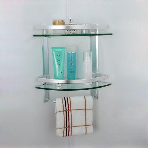 Kes A4123 Aluminum Bathroom 2 Tier Glass Corner Shelf With Towel Bar Wall Mounted Silver Sand