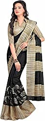 GoGalaxy Fashion Woman's unstiched party wear collection Grey Bhagalpuri Silk Printed Free Size Full Saree at Low Price
