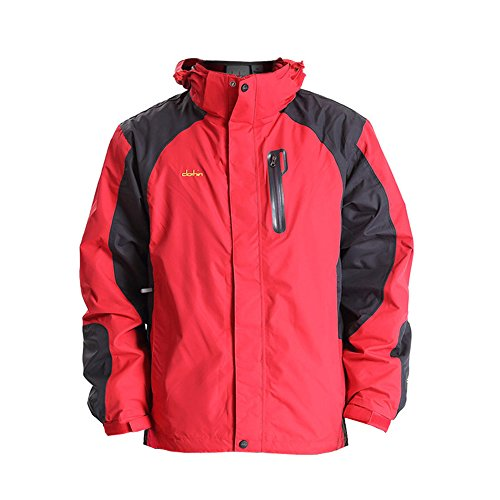 Clothin クロスン メンズ アウトジャケット アノラック クライミング 多機能ジャケット 登山用 防水 防寒 男性 レッド XL