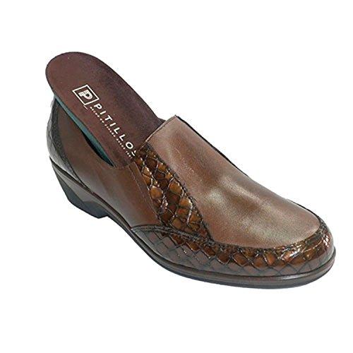 scarpe da donna con ornamenti coccodrillo di gomma sui lati Pitillos marrone taille 39