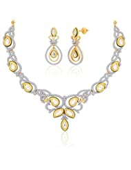 "Peora 18 Karat Gold Plated Kundan ""Akshita"" Necklace Earrings Set (PN417GJ)"