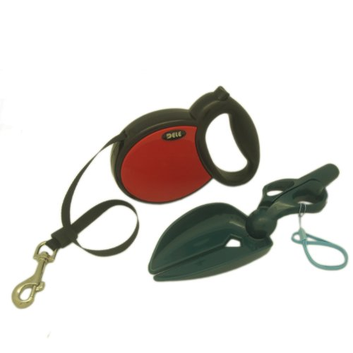 Alfie Pet - Presley Retractable Dog Leash With Waste Scissor Scoop Pickup Tool Set - Color: Red, Size: Large - 16 Feet front-816359