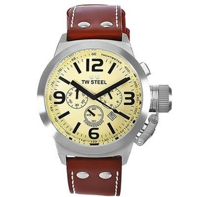 Imagen de TW Steel Canteen Hombres TW5 Brown Dial reloj de cuero, crema