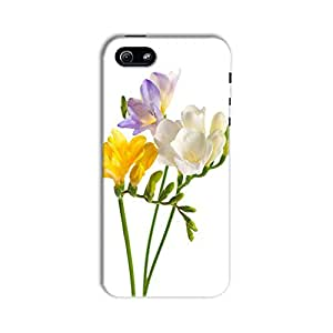 ArtzFolio White And Yellow And Purple Freesia Flowers : Apple iPhone 5 / 5S Matte Polycarbonate Original Branded Mobile Cell Phone Designer Hard Shockproof Protective Back Case Cover Protector