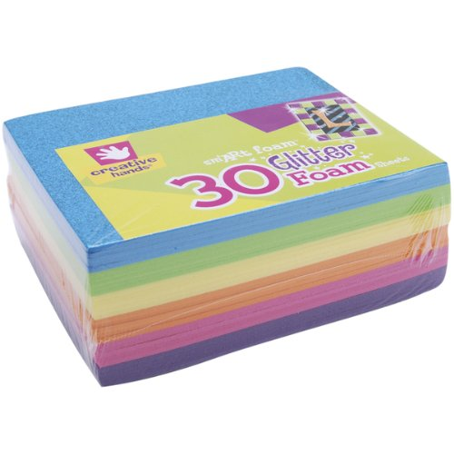 Glitter Foam-Sheets 6-Inch-by-4-1/2-Inch, 30-Pack, Bright Colors