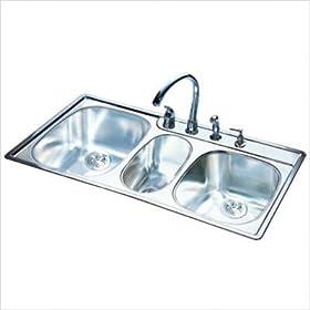 FrankeUSA OTSK954BX Offset Triple Bowl Stainless Steel 43x22in. Topmount Sink