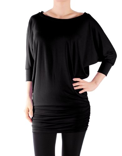 LeggingsQueen Women's Half Sleeve Rayon Spandex Yoga Basic Tunic Top with Shirring (Black, X-Large) (Yoga Tops With Sleeves compare prices)