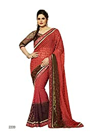 Aarti Latest Fashionable Party Wear Fancy Saree Bridal Embroidery Saree Wedding Wear Free Size - B00XA084BO