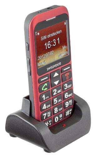 Swissvoice MP33 GSM Großtasten Mobiltelefon (5,8 cm (2,3 Zoll) Farbdisplay, 2 Megapixel Kamera) burgund