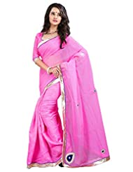 7 Colors Lifestyle Light Pink Coloured Super Net Embroidered Saree - B01537CRIW