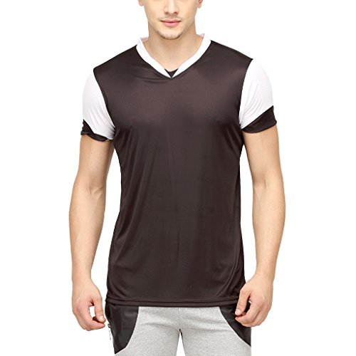 Campus-Sutra-Men-Odourless-Half-Sleeve-V-Neck-Neck-Black-Dryfit-Jersey