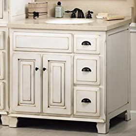 Sagehill Antique Bathroom Vanity VQ3021D. W30'' x D21'' x H34'', Antique White, Ash Wood
