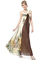 Ever Pretty Printed One Shoulder Ruching Chiffon Long Evening Gown 09356, HE09356BR16, Multiple(brown), 14US