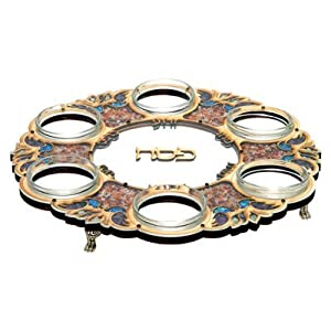 Passover Pesach Seder Plate Contemporary Wood & Colorful Stones + 6 Glass Inserts Hand Made In ISRAEL By MATIEL. Great Gift For: Shabbat Pasover Sader Night Rabbi Hebrew School Temple Wedding Housewarming Anniversary Mother's Day Bar Mitzvah Bat Mitzva and Jewish Homes. Jewish Art