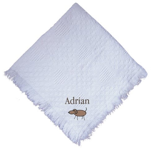Stick Dog White 100% Cotton Custom Embroidered Personalized Baby Blanket Green Thread front-962573