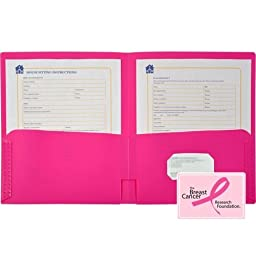 Lion Office 91100HP Fun-Color 2 Pocket Portfolio, Letter Size, 48 Per Box, Hot Pink