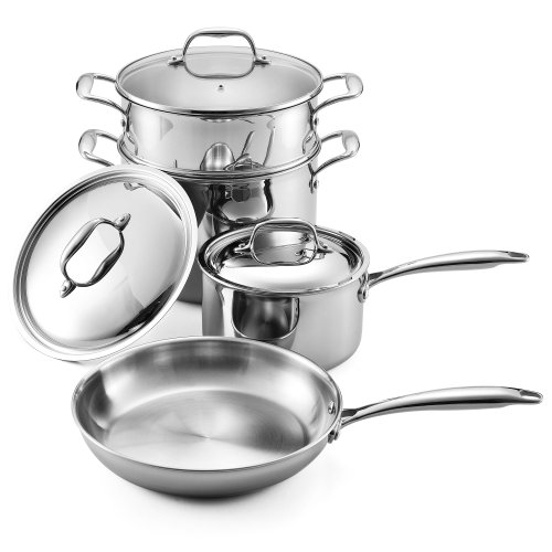 Cooks Standard NC-00222 7-Piece II Multi-Ply Clad 5-Ply Stainless-Steel Cookware Set