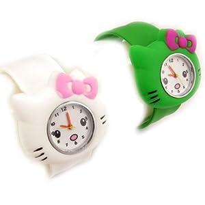 2 slap watches 'Hello Kitty'white green.