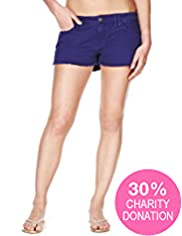 Fashion Targets Breast Cancer Cotton Rich Frayed Hem Denim Shorts