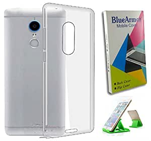 BlueArmor Soft Silicone Back Cover Case For Gionee S6s - Transparent & Mobile Stand