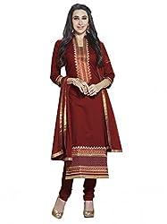 SR Women's Cotton Unstitched Dress Material (Maroon Top Bottom Duptta)