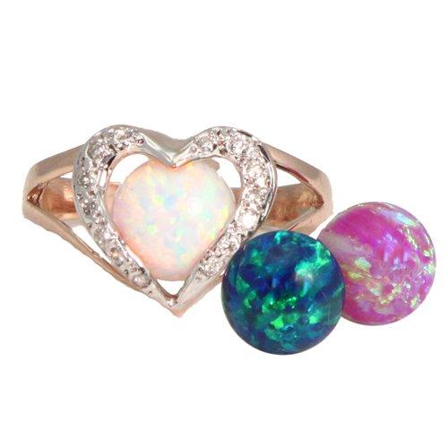 Interchangeable Opal & Diamond Heart Ring 14K Pink Gold