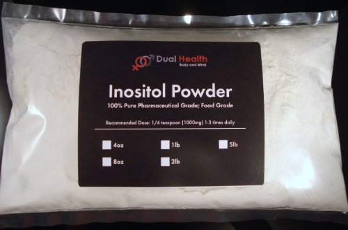 Dual Health Body & Mind 1 lb. Inositol Powder (454g) Pure Mood Stress Anxiety Energy Depression Detox USP & FCC Food Grade By Dual Health