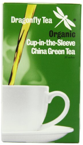 Dragonfly Tea Organic Cup-in-the-Sleeve China Green 20 Teabags (Pack of 4, Total 80 Teabags)