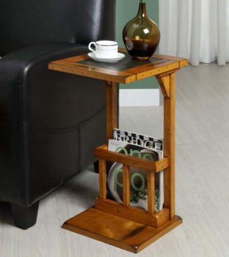 Homelegance 4729AK Chair Side Table with Magazine Rack, Oak Finish